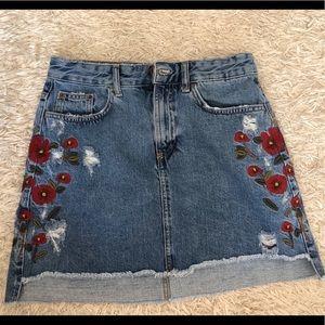 Zara denim skirt with floral